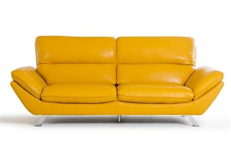 Divani Casa Daffodil Modern Yellow Italian Leather Sofa