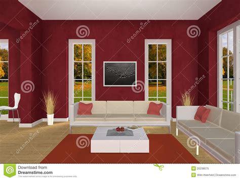 Rotes Wohnzimmer by Rotes Wohnzimmer Und Herbstpark Lizenzfreies Stockfoto
