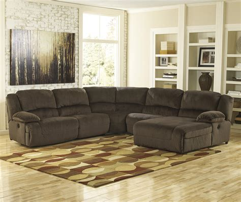 chocolate brown sectional sofa with chaise signature design by ashley toletta chocolate reclining