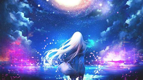 colorful night wallpaper anime white hair anime girls night sky stars colorful