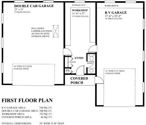 Basement In Law Suite Floor Plans double garage with workshop and rv garage house plan hunters