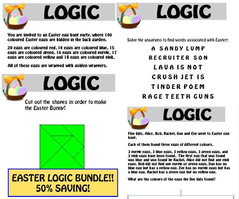 printable easter logic puzzles teacherofthought s shop teaching resources tes