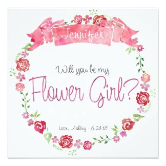 Floral Wreath Will You Be My Flower Girl Card 5 25 Quot Square Invitation Card Will You Be My Flower Template