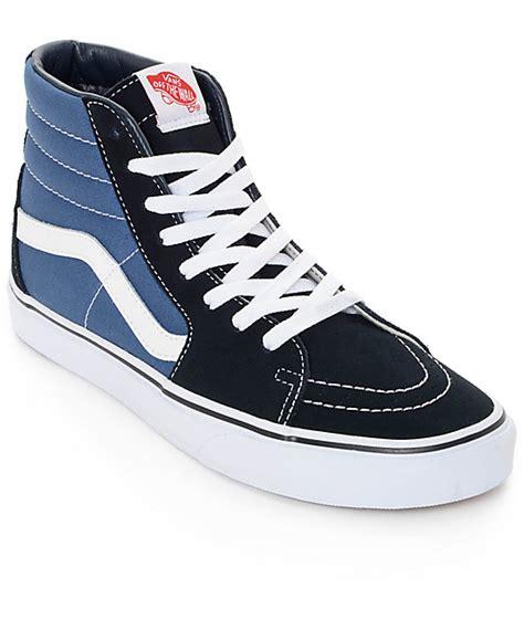 vans sk8 hi navy skate shoes