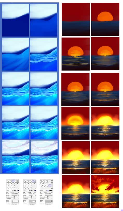 paint tool sai sun tutorial water tutorial by ryky on deviantart