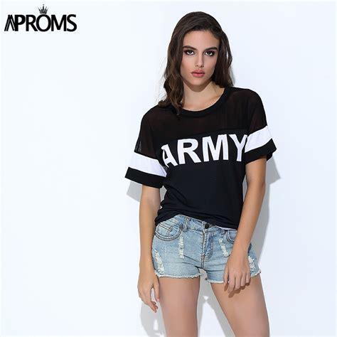 Letter Mesh Casual Top 25093 aproms korean harajuku t shirt 2017 casual black mesh rock army print t shirts
