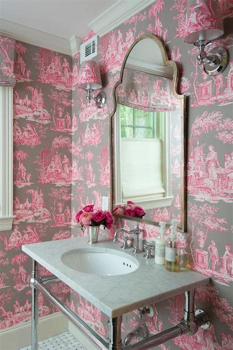pink and brown toile wallpaper bathroom