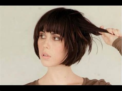 short hairstyles with bangs youtube short bob hairstyle with fringe youtube