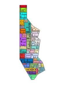 Map Of New York Neighborhoods by New York City Map Manhattan Multi Color Neighborhood Map