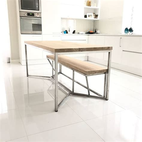 oak and steel dining table solid oak stainless steel dining table by cosywood