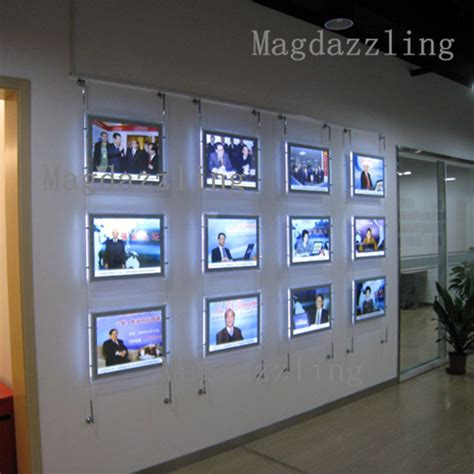 hanging photo display a4 single sided acrylic frame led wall hanging display