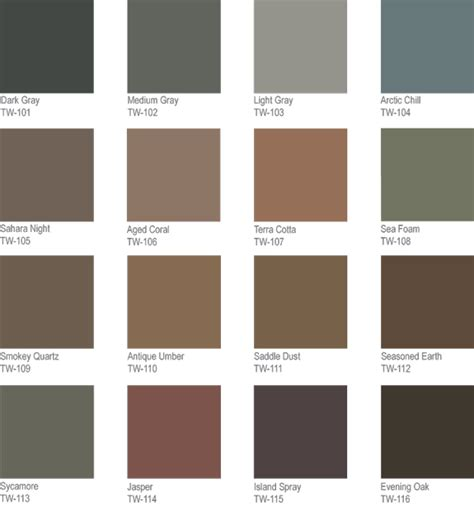 decorative concrete coatings color charts