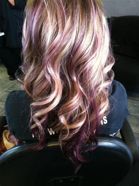 hair styles foil colours purple highlights on dark brown hair picmia