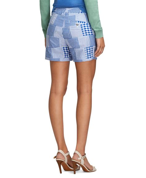 Womens Madras Patchwork Shorts - lyst brothers patchwork madras shorts in blue
