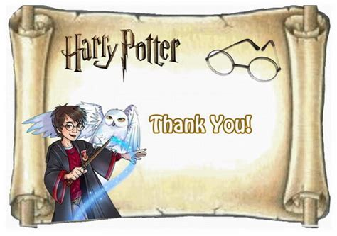 Harry Potter Thank You Card Template by Harry Potter Thank You Cards Birthday Printable