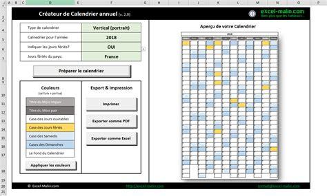 Calendrier 2018 Annuel Calendrier 2018 Excel Modifiable Et Gratuit Excel Malin