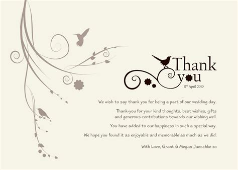 thank you letter marriage gift wedding thank you templates free standard greeting card