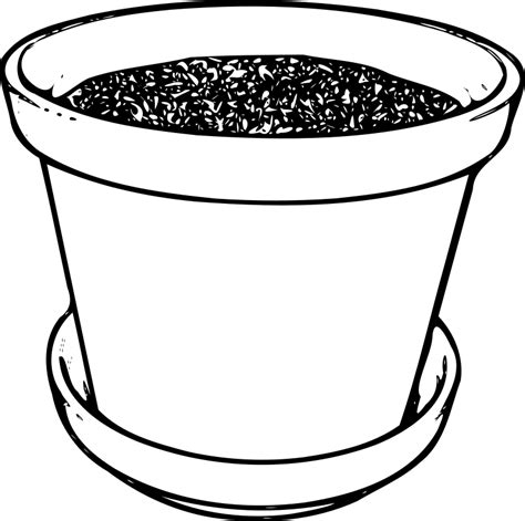 water pot coloring page potted plant clipart black and white clipart panda