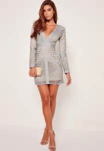 lace plunge bodycon dress grey missguided