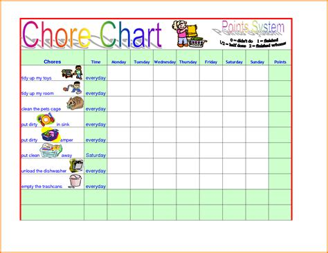 chart for template chore chart template authorization letter pdf
