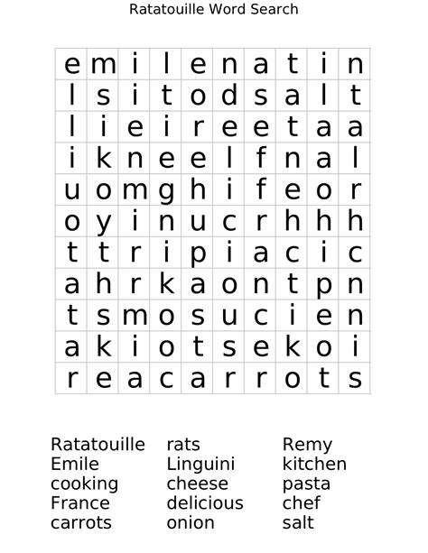 Search Free Ws Ratatouille Word Search Worksheet Free Math Worksheets Educational