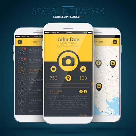 Mobile Application Design Vector | mobile social app interface design vector 01 vector