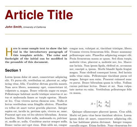 journal article layout template two column article templates tex latex stack exchange