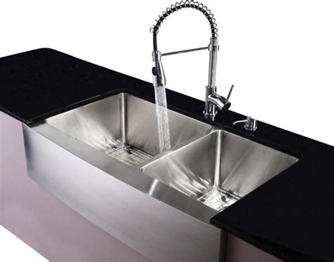 Kitchen Sinks Houzz Stainless Steel Farmhouse Kitchen Sink Faucet Dispenser Contemporary Kitchen Sinks By