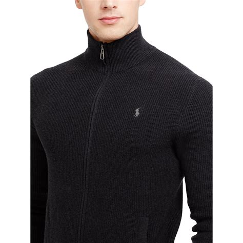 Sweater Polos Zipper Polo Ralph Cotton Zip Sweater In Black For
