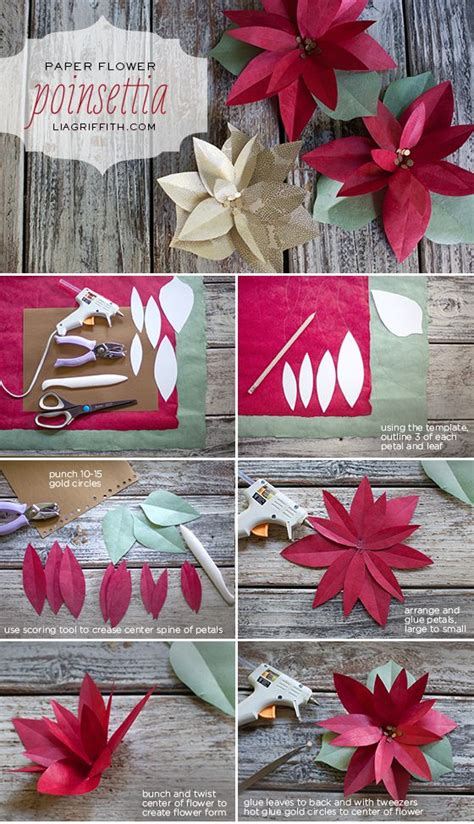 diy paper poinsettia make paper navidad and patterns