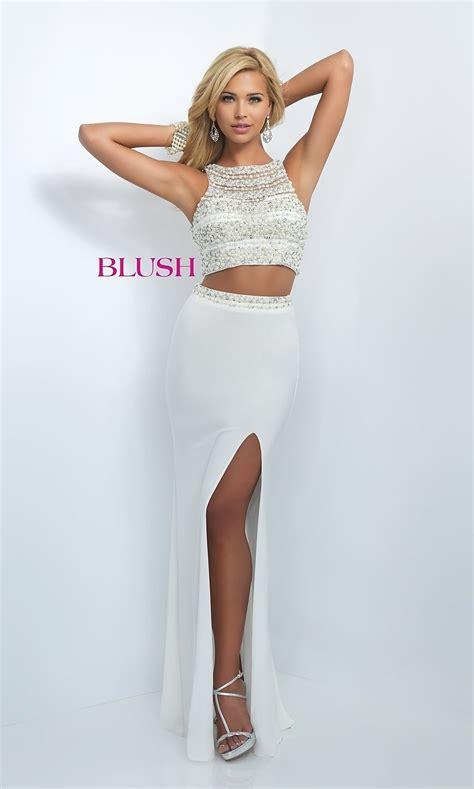 piece beaded blush long prom dress promgirl