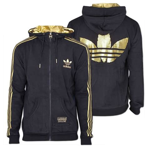 Zipper Hoodie Adidas Original Gold Logo Anime adidas mens originals chile 62 fleece zip sweatshirt size s xl black gold ebay
