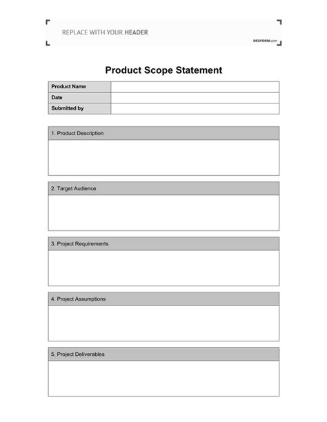 project scope template download free documents for pdf