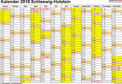 Kalender 2018 Mit Feiertagen Schleswig Holstein Kalender 2018 Schleswig Holstein Ferien Feiertage Pdf