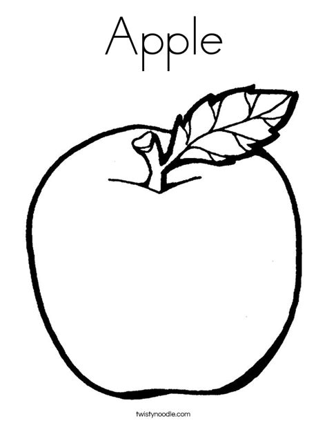 coloring page apple apple coloring page twisty noodle