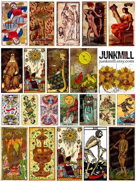 printable tarot cards medieval tarot digital printable collage sheet vintage