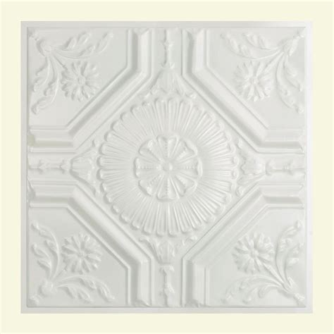 gratifying suspended ceiling tiles great great lakes tin rochester 2 ft x 2 ft lay in tin ceiling tile in matte white y58 01 the home
