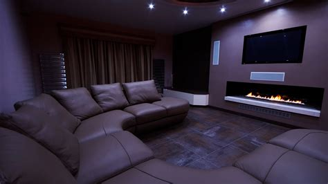 Design Your Home Interior by Home Cinema With Fireplace Finite Solutions