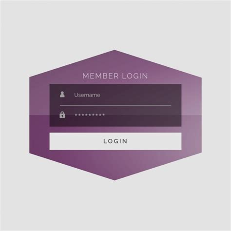 purple geometric login template vector free download