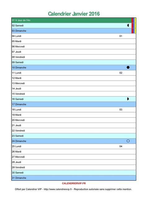Calendrier 2016 Vierge Mensuel Calendrier Janvier 2016 224 Imprimer Gratuit En Pdf Et Excel
