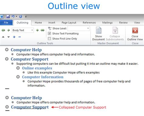 layout definition computer hope what is an outline view