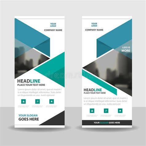 layout banner download blue green triangle roll up business brochure flyer banner