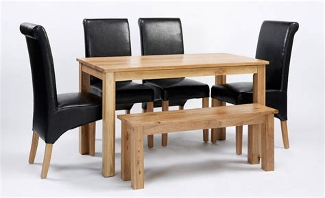 dining table with bench and chairs lansdown oak dining table 2 or 4 brown rollback dining