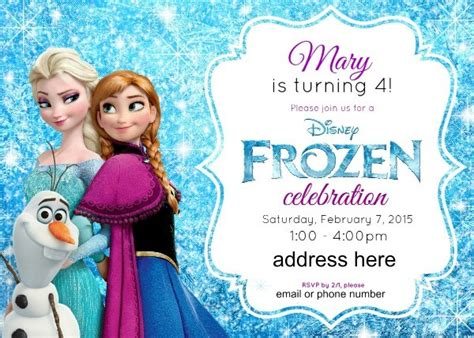 frozen birthday invitation with photo disney s frozen birthday ideas pink purple blue a jumper