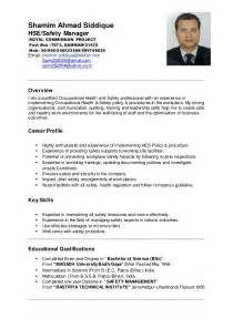 Safety Manager Resume by Shamim Ahmad Hse Manager Cv