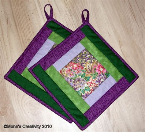 Free Quilted Potholder Pattern by Mona S Creativity Pot Holder Pattern