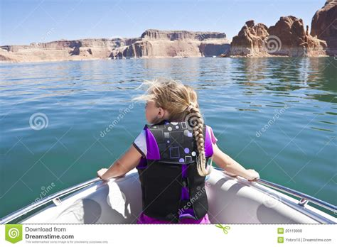 girl on front of boat little girl on a boat ride at lake powell royalty free