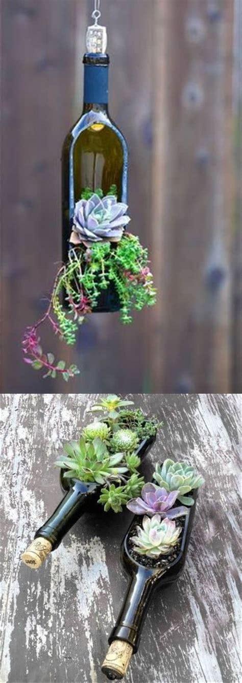wine bottle planters wine bottle succulent planter easy diy tutorial
