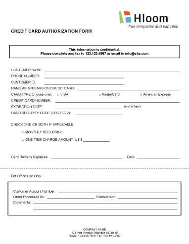 3rd credit card authorization form template credit card authorization forms hloom
