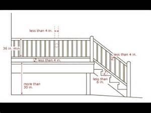 banister railing height deck stair railing spacing deck stair rail height standard